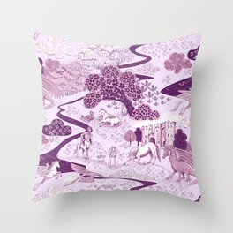 Mythical Creatures Toile- Plum purple colors Throw Pillow