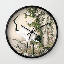 Crane and Chinese Roses Wall Clock