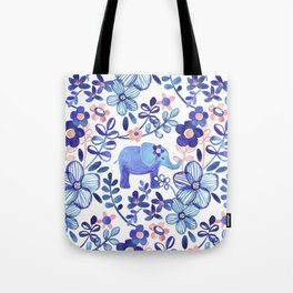 Pale Coral, White and Purple Elephant and Floral Watercolor Pattern Tote Bag