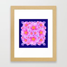 Dark Blue Fuchsia Pink Clustered Roses Framed Art Print