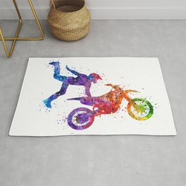 Boy Motocross Hart Attack Trick Colorful Watercolor Art Gift Motorcycle Art Rug