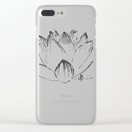 Lotus's Flower drawn, vectorised, grung texture, spiritual Clear iPhone Case