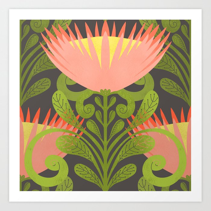 King Protea Flower Pattern - Gray Art Print