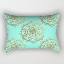 Golden Mandalas on Turquoise Rectangular Pillow