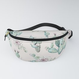 Pretty Cactus Rose Pattern Pale Pink + Green Fanny Pack
