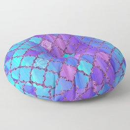 Moroccan Tile Pattern In Purple And Aqua Blue Floor Pillow