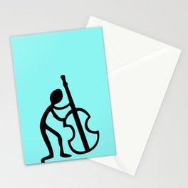 Guitar Figure in Blue Stationery Cards