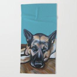 Merlin the German Shepherd Beach Towel