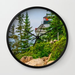 Bass Harbor Lighthouse Through the Forest Print Wall Clock