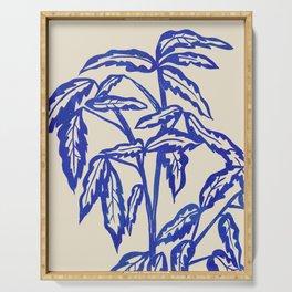 Minimal Blue Plant Serving Tray