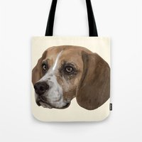 beagle Tote Bags featuring Beagle by Goncalo