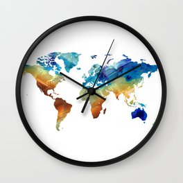 Blue And Colorful World Map 27 - Sharon Cummings Wall Clock