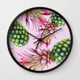Pinapples on pink Wall Clock