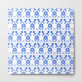 Blue Floral Neck Gator Blue and White Floral Blue Metal Print