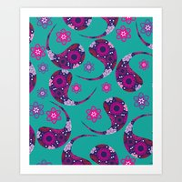 paisley Art Prints featuring Paisley by luizavictoryaPatterns