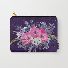 Romantic gold and purple floral design Carry-All Pouch