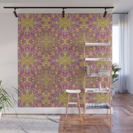 Purple and Gold Floral Abstract Wall Mural