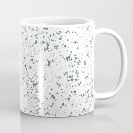 White with Green Splatter Print Coffee Mug