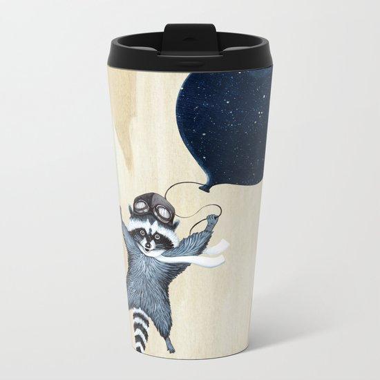 Raccoon Balloon Metal Travel Mug