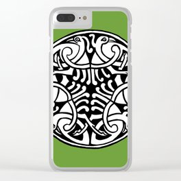 Celtic Art - Interlaced Birds - on Green Clear iPhone Case
