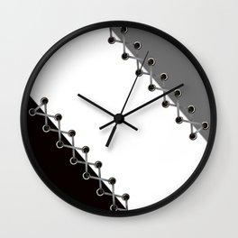 Lacing . Black , white and grey . Wall Clock