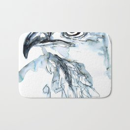 Hawk, Watercolor Bath Mat