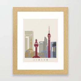 Jeddah skyline poster Framed Art Print