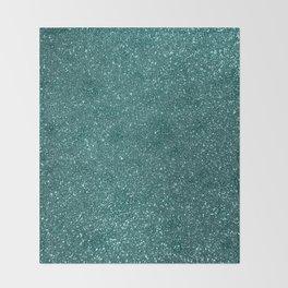 Aqua Teal Turquoise Glitter Throw Blanket