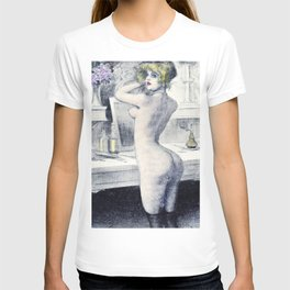 Hand colored Nude Boudoir Blond Blue Eyes Black Stockings Red Lips T-shirt