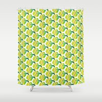 green pattern Shower Curtains featuring pattern green by colli1.3designs
