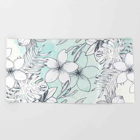 Floral Sketches Beach Towel