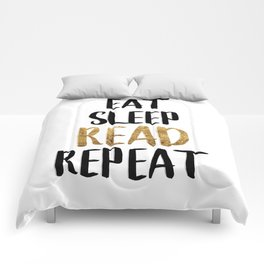 Eat Sleep Read Repeat Gold Comforters