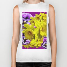 YELLOW SPRING DAFFODILS & LILAC PANSIES COLOR ART Biker Tank