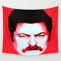 "swanson Wall Tapestries featuring Ron Swanson ""No"" by Silvio Ledbetter"