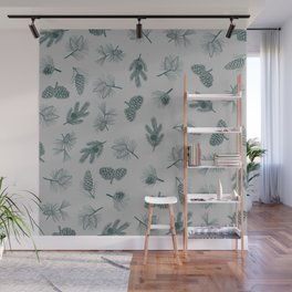 Evergreen drawing (pine cones in gray) Wall Mural