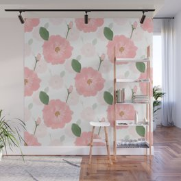 Peach Pink Watercolor Paint Roses Girly Design Wall Mural