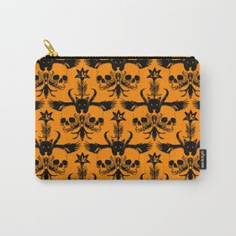 The Flying Black Cat Spell | damask | orange pumpkin Carry-All Pouch
