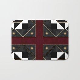 FourSquared  Black White Red Gold Pattern Bath Mat