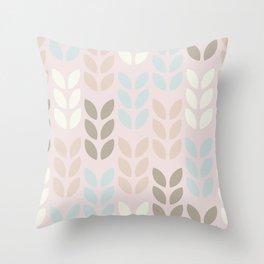 Scandinavian small leaves pattern design. Throw Pillow
