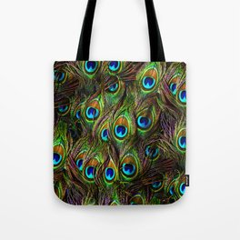 Peacock Feathers Invasion - Wave Tote Bag
