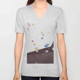 Geometric abstract free climbing bouldering holds pink yellow Unisex V-Neck