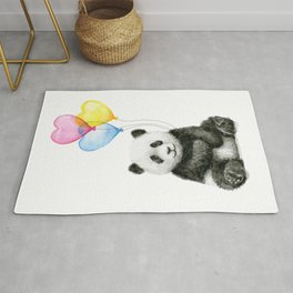 Panda Baby with Heart-Shaped Balloons Whimsical Animals Nursery Decor Rug