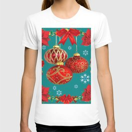 TEAL COLOR RED CHRISTMAS  ORNAMENTS &  POINSETTIAS FLOWER T-shirt