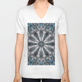 Turquoise on black and white mandala Unisex V-Neck