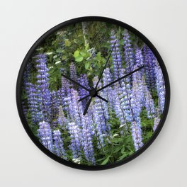 Lupins in Blue and Purple Wall Clock