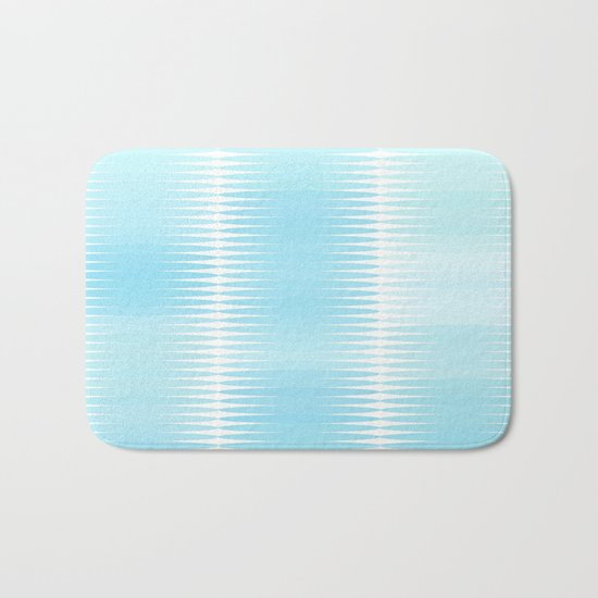 Ocean Blue Geometric Abstract Bath Mat