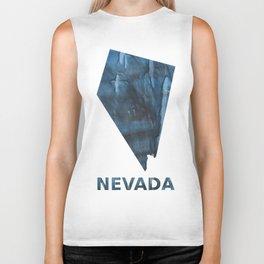 Nevada map outline Dark Gray Blue clouded watercolor pattern Biker Tank