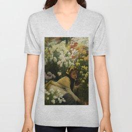 'Chrysanthemums' floral landscape portrait by James Tissot Unisex V-Neck