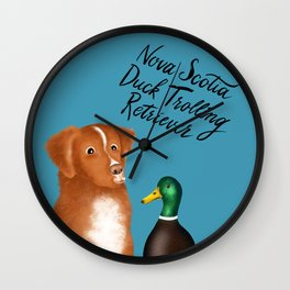 Nova Scotia Duck Trolling Retriever (Blue) Wall Clock