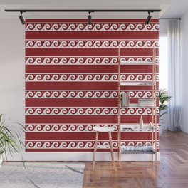 Red and white Greek wave ornament pattern Wall Mural